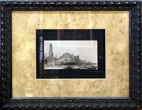 """Rembrandt, """"Landscape with Obelisk"""""""