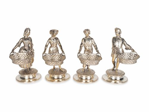 Set of Four Victorian Silver Figural Salts Height 7 1/2 inches.
