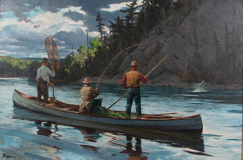 Ogden M. Pleissner (1905-1983) Jimmy's Pool on the Restigouche, Playing a Salmon - New Brunswick