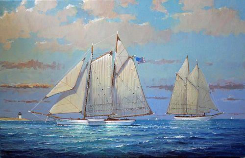 "William Lowe Oil on Linen ""Approaching Nantucket Harbor"""