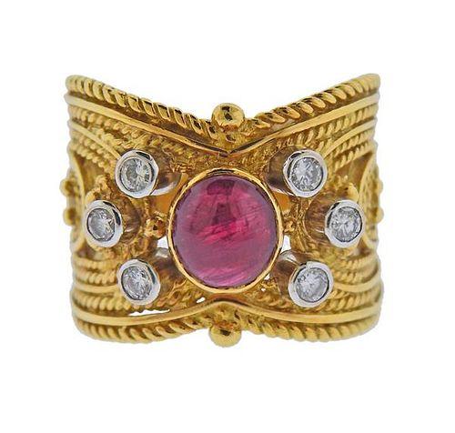Yanes Alhambra 18K Gold Diamond Ruby Ring
