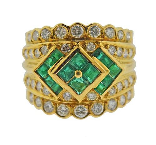 18K Gold Diamond Emerald Wide Band Ring