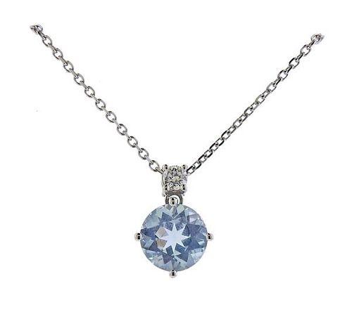14K Gold Diamond Aquamarine Pendant Necklace