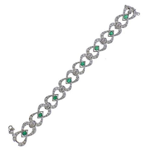 18k Gold Diamond Emerald Bracelet