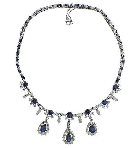 14k Gold 20cts Diamond Sapphire Necklace