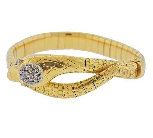 18K Gold Diamond Snake Bracelet