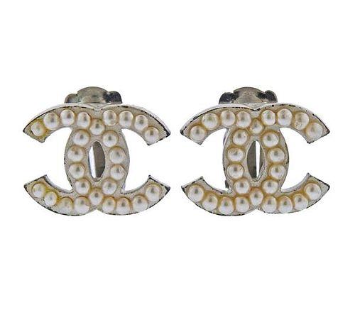 Chanel CC Costume Pearl  Earrings