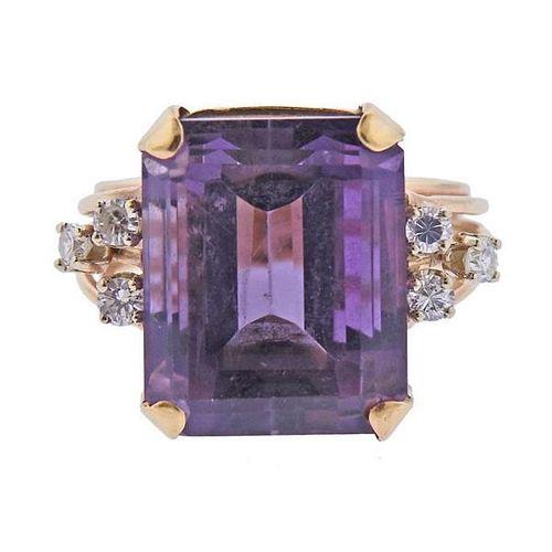 Mid Century 14K Gold Diamond Amethyst Ring