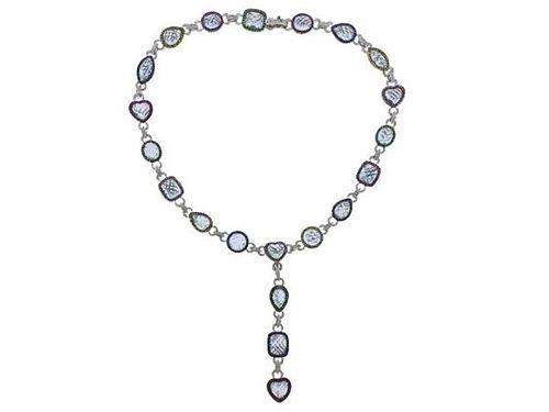 18K Gold Diamond Aquamarine Gemstone Necklace