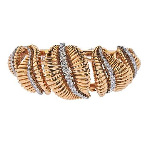 Retro 18K Gold Platinum Diamond  Bracelet