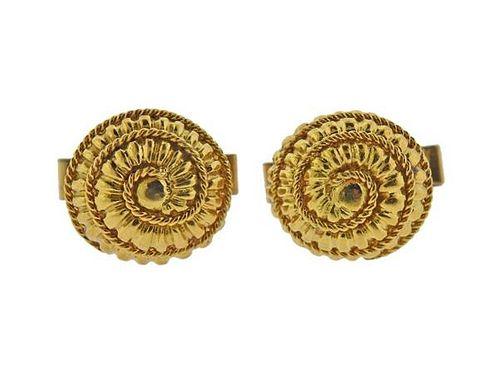 1960S 18K Gold Woven Swirl Motif Cufflinks