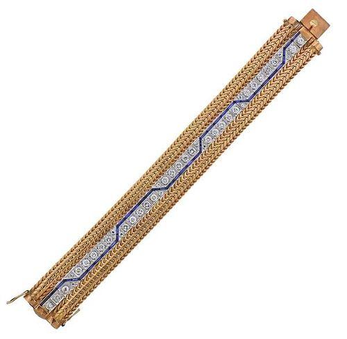 14K Gold Platinum Diamond Bracelet