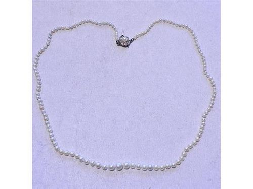 GIA Natural Pearl Antique 14K Gold Diamond Necklace