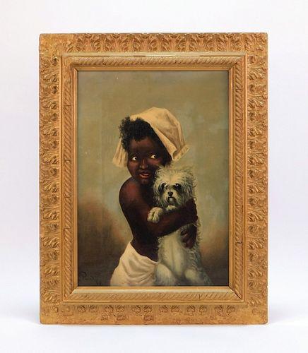 19C Black Americana Folk Girl and Dog Painting