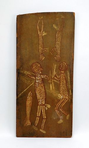 African Carved Wood Hunting Scene Panel