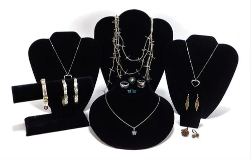 13PC Estate Sterling Silver Jewelry Group