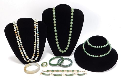 9PC Estate Hardstone and Jadeite Jewelry Group