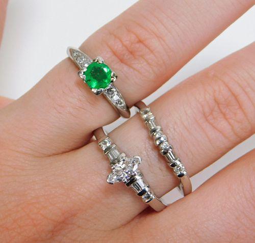 3PC Estate Lady's Platinum Diamond Ring Group