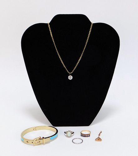 6PC Gold Sapphire Topaz Opal Jewelry Group