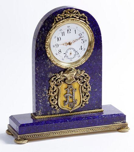(Attributed to) Faberge Lapis Lazuli Desk Clock
