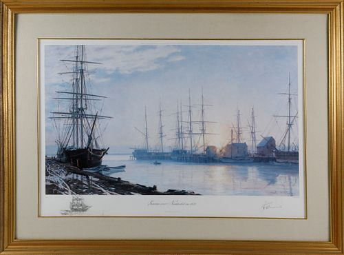 """John Stobart Limited Edition Lithograph """"Sunrise over Nantucket in 1835"""""""