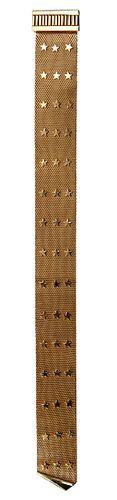 18k Yellow Gold Star Design Mesh Bracelet