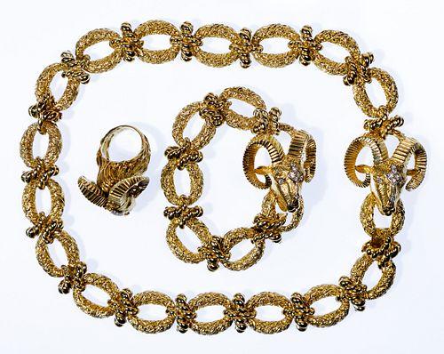 La Triomphe 14k Yellow Gold and Diamond Jewelry Suite
