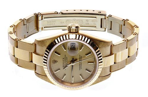 Rolex 18k Yellow Gold Case and Band DateJust Ladies Automatic Wrist Watch