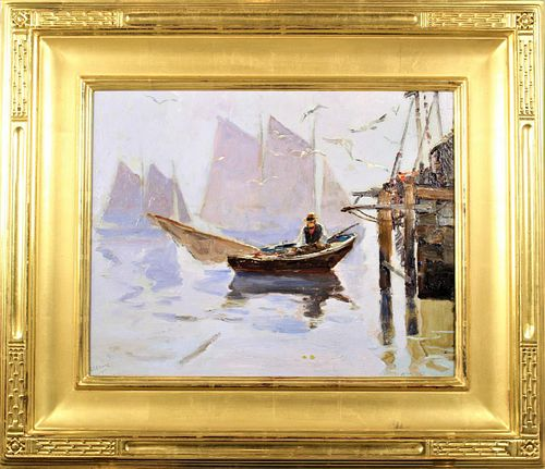 Anthony Thieme (1888-1954) Mass, Oil on Board