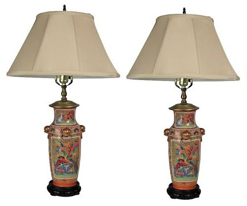 Important Chinese Qing Dynasty Pair of Lamps