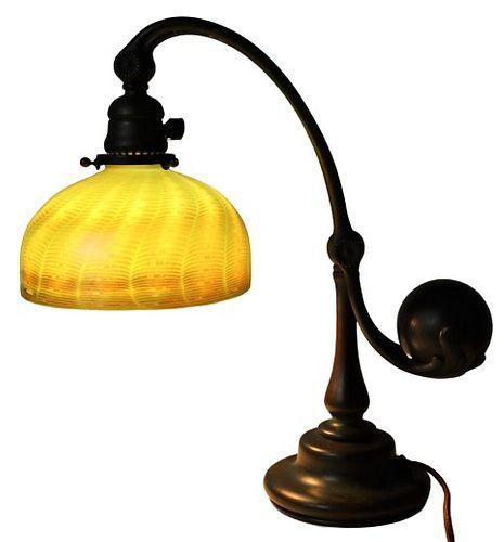 Tiffany Favrile & Bronze Counter-Balance Lamp