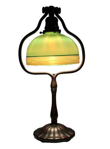 Tiffany Studios Favrile Glass & Bronze Desk Lamp