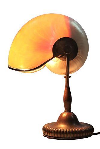 Tiffany Studios Bronze & Nautilus Shell Lamp