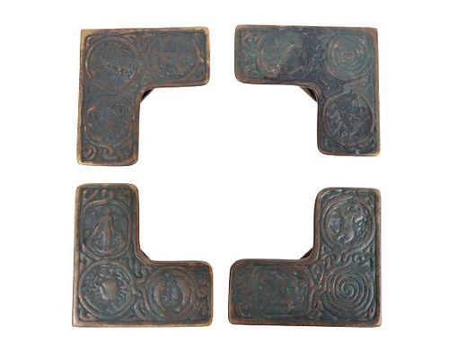 "Bronze Tiffany Studios ""Zodiac"" (4) Blotter Ends"