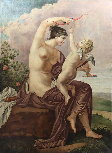 19th Century Venus & Cupid Italian Oil on Canvas