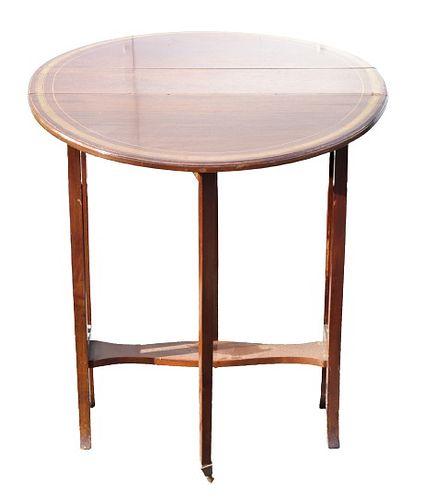 English Banded Mahogany Tuck-away Table