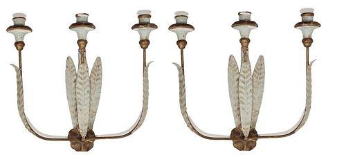 Pair Antique Swedish Polychrome Sconces