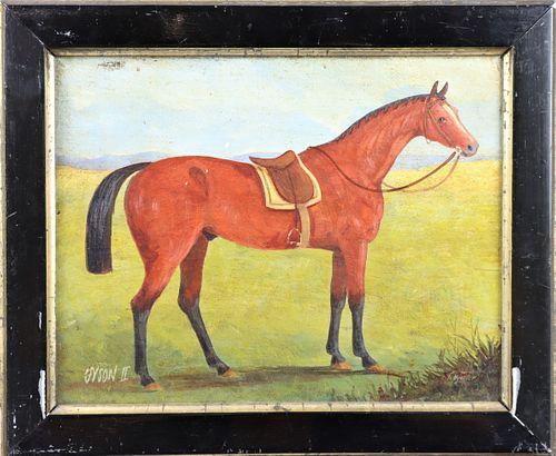 """Antique """"Tyson II"""" Equestrian Oil on Board"""