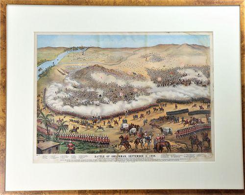 19th C. Battle of Omdurman Lithograph
