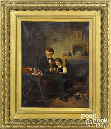 James Wells Champney oil on canvas interior scene