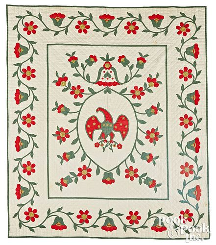 Appliqué eagle and floral vine quilt, early 20th