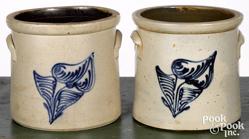 Two similar New York stoneware crocks