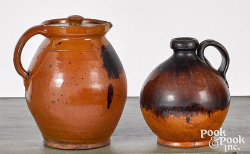 Redware jug and lidded pitcher, 19th c.