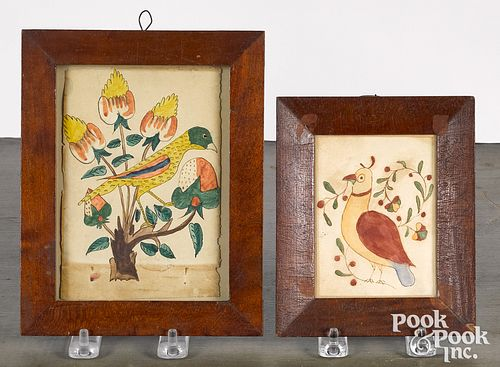 Two Pennsylvania watercolor fraktur drawings