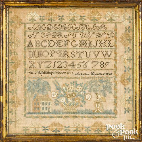 New England silk on linen sampler
