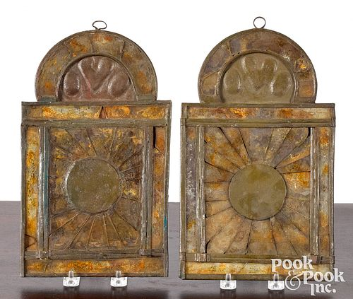 Pair tin reflector sconces, 18th c.
