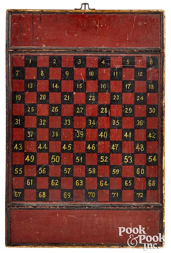 Painted double sided gameboard, late 19th c.