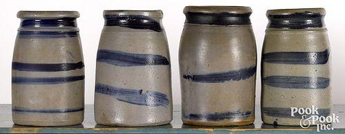 Four western Pennsylvania stoneware canning crock