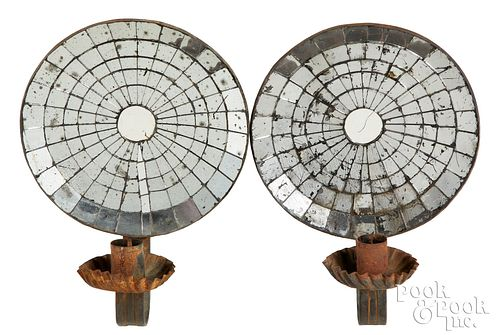 Pair of mirrored tin candle sconces, 19th c.