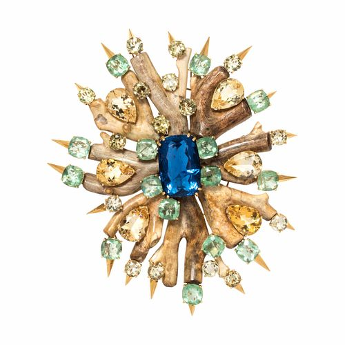 TONY DUQUETTE, MULTIGEM AND CORAL BROOCH